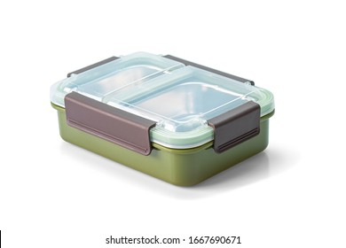 Food boxes, Stainless steel portable lunch box with leak-proof container for kids school food with clipping path.