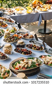 food buffer catering dining eating party sharing concept.variety of food on table. top view