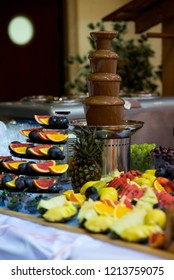 Food Buffet Catering Dining Eating Party - wooden table in a wedding hall with meat, cheese, and traditional Polish food