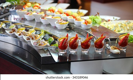 Food Buffet in Luxury Restaurant. Buffet Catering Food Arrangement on Table.