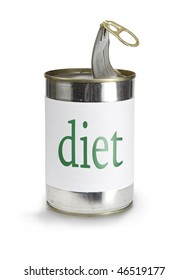 a food can with a diet label isolated on white