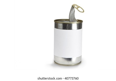 a food can with a pull tab isolated on white