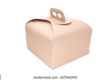 Food cardboard box for Italian panettone, traditional Christmas holidays food. Isolated on white