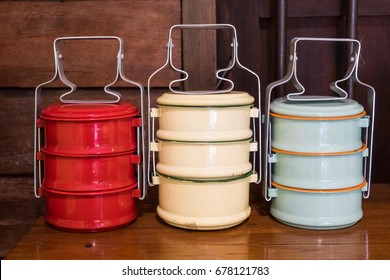 Food carrier (Pinto) Vintage food packaging on wooden background
