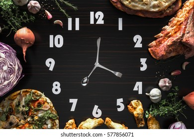 Food clock on the Black wood Laminate.