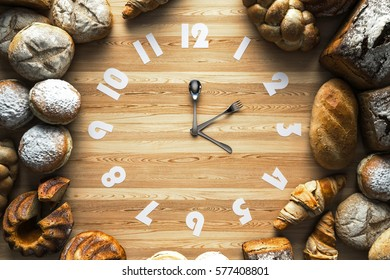 Food clock on the Light wood.