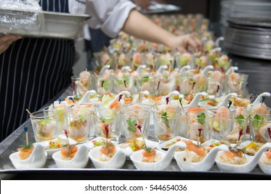 food cocktai served on  platter for party