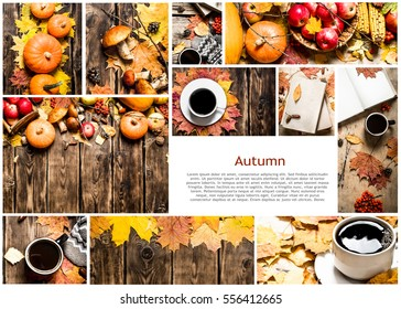 Food collage of autumn photos.