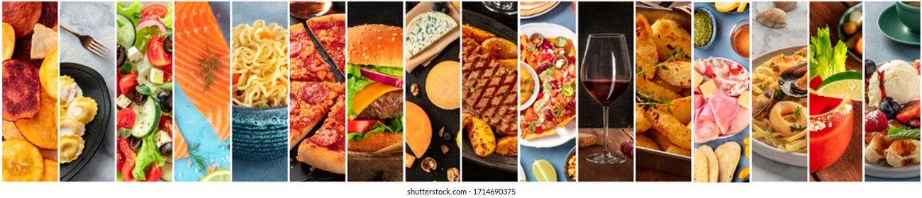 Food collage design template. Various tasty dishes, including a burger, a pizza, seafood, beef steak. A restaurant menu cover or a groceries shop flyer - Shutterstock ID 1714690375