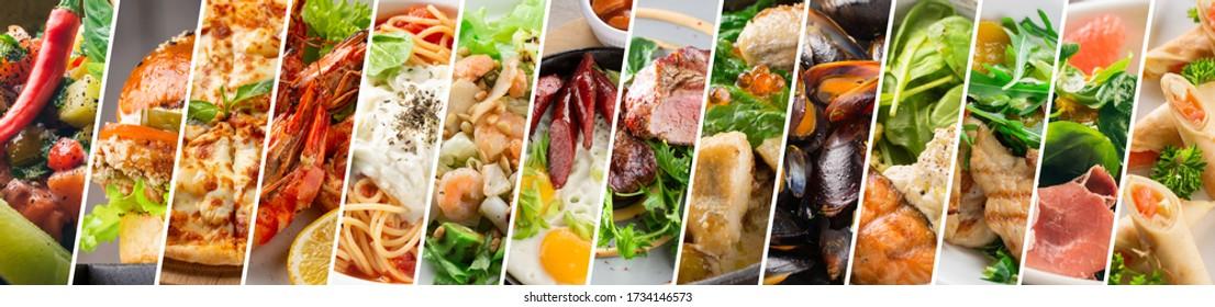 Designvorlage für Lebensmittelkollektionen. Verschiedene leckere Gerichte. Eine Speisekarte des Restaurants oder ein Flyer der Lebensmittelgeschäfte. Banner