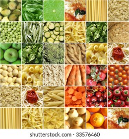 Food collage including pictures of vegetables, fruit, pasta and more