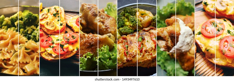 Food collage. Varied food. Appetizing different food. Meat and vegetables.