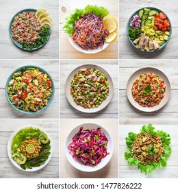 Food collage with a variety of salads dishes of world cuisine.