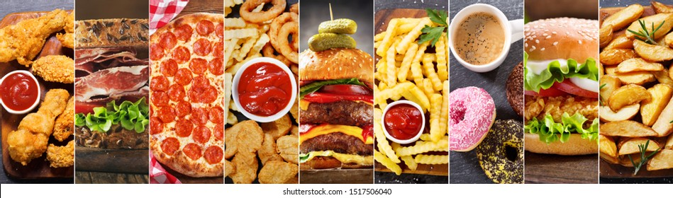 food collage of various fast food meals and drinks