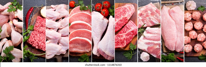 food collage of various fresh meat and chicken, top view