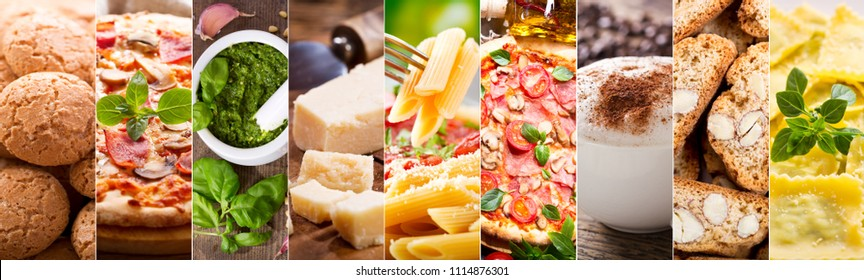 food collage of various italian cuisine