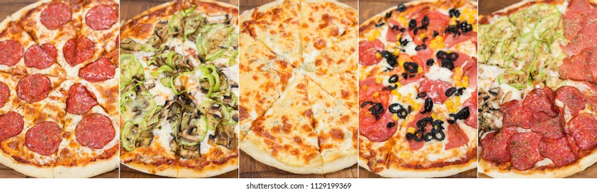 Food collage various pizza cuts