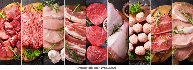 food collage of various types fresh meat on dark background, top view