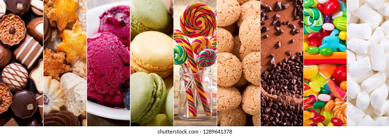 food collage of various types sweets products