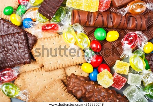 食べ物のコンセプト – キャンディ、チョコレート、キャンディバー、ゼリー
