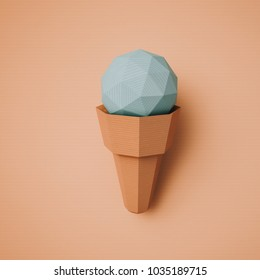 Food concept. Ice cream from cardboard on papper background. Cartoon food product packagingand delivery. 3D model render