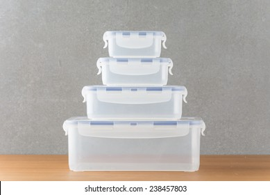 Food containers on wood table