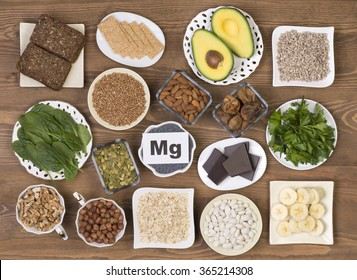 Food containing magnesium: pumpkin seeds, poppy seed, beans, chocolate, almonds, sunflower seeds, oatmeal, buckwheat, hazelnuts, sesame bars, figs,  spinach, bananas and avocado.