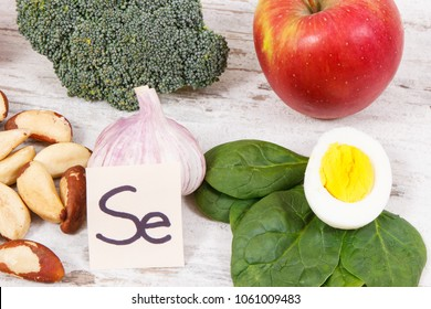 Food containing selenium, vitamins and dietary fiber, natural sources of minerals, concept of healthy lifestyle and nutrition