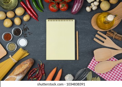 Food and cooking concept. Organic Ingredients top view and copy space.