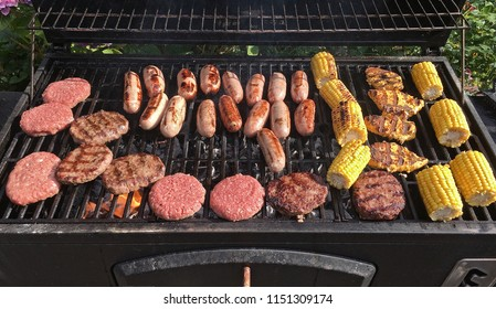 Food cooking on barbecue grill