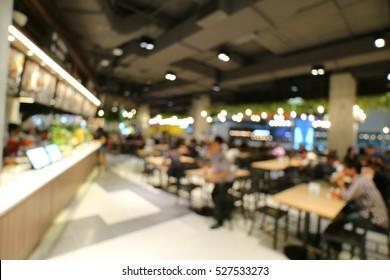 Food court and canteen interior blur abstract background