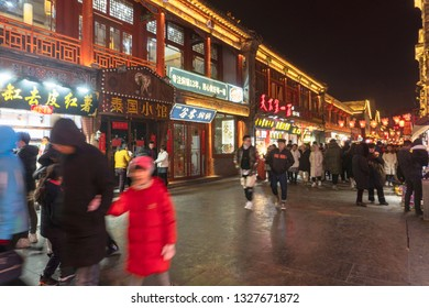 Food court of the night and the crowd.The Spring Festival of 2019 in Taiyuan city,Shanxi Province, China.