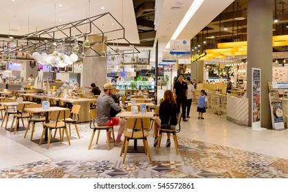 Food court in supermarket in Thailand Hua Hin,Thailand December 10, 2016