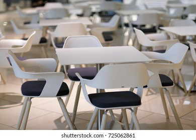 food court tables and chairs no people