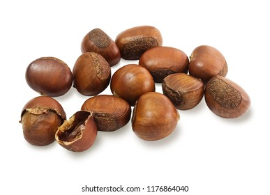 Food and Cuisine, Traditional Roasted Chestnuts Isolated on White Background. High in Vitamin C and Vitamin B of Pyridoxine, Folate, Riboflavin, Thiamine.
