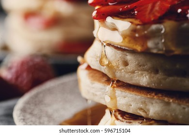 Food. Delicious pancakes on a dish