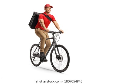 Food delivery guy riding a bicycle isolated on white background