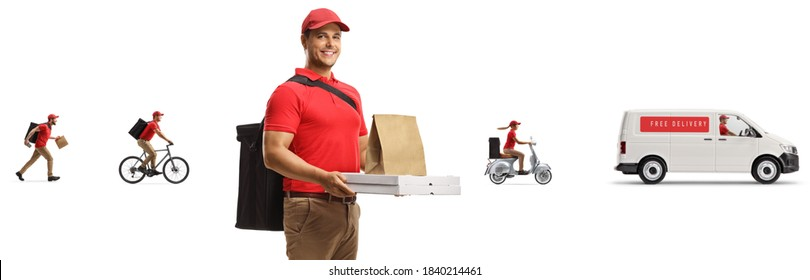 Food delivery man with a bag and pizza boxes with other couriers and a van in the back isolated on white background