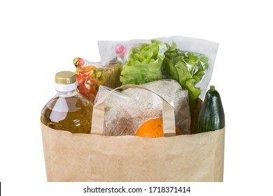 Food delivery in a paper bag. Copy space.