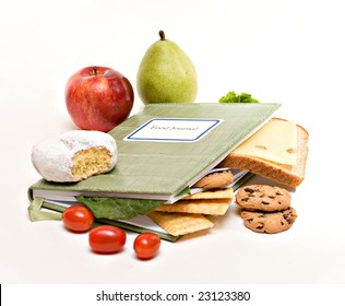 A food diary, journal; health diet concept.
