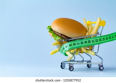 Food and diet concept. Monitoring nutrition and weight. Refusal of junk, unhealthy food. Restriction in carbohydrate food and fast food. Be on dieting. Copy space