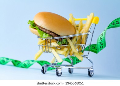 Food and diet concept. Monitoring nutrition and weight. Refusal of junk, unhealthy food. Restriction in carbohydrate food and fast food. Be on dieting
