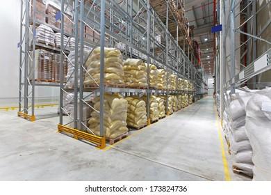 Food distribution warehouse with sacks and bags