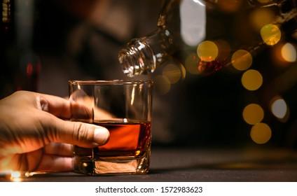 food and drink bartender Serve Whiskey, on wood bar
