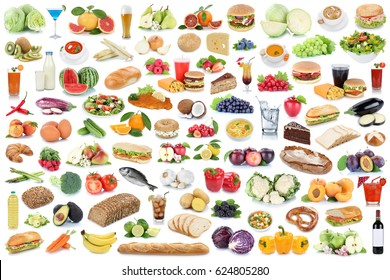 Food and drink collection collage healthy eating fruits vegetables fruit drinks isolated on a white background
