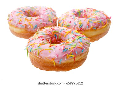 Food and drink: group of pink donuts, isolated on white background