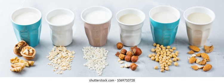 Food and drink, health care, diet and nutrition concept. Assortment of organic vegan non dairy milk from nuts, oatmeal, rice, soy in glasses on a kitchen table