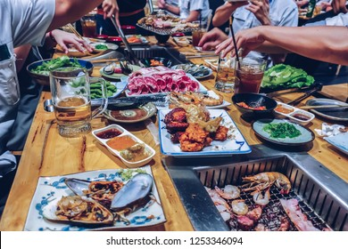 food and drink on the table for party