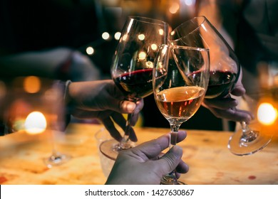 food and drink ,Red wine friends at the party,