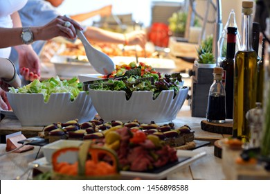 Food and drink at a wedding reception